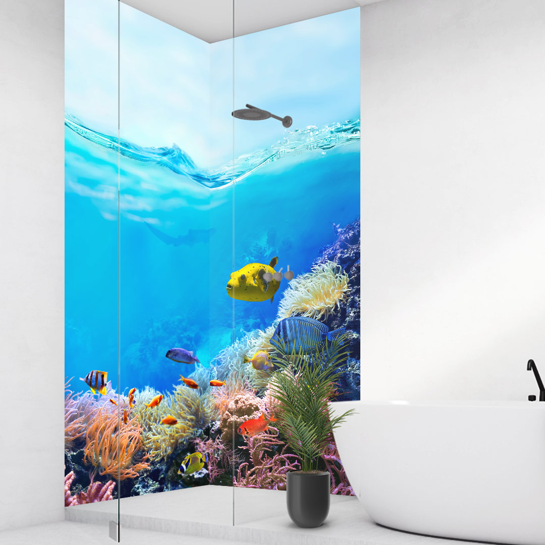 Duschrückwand Great Barrier Reef über Eck Set