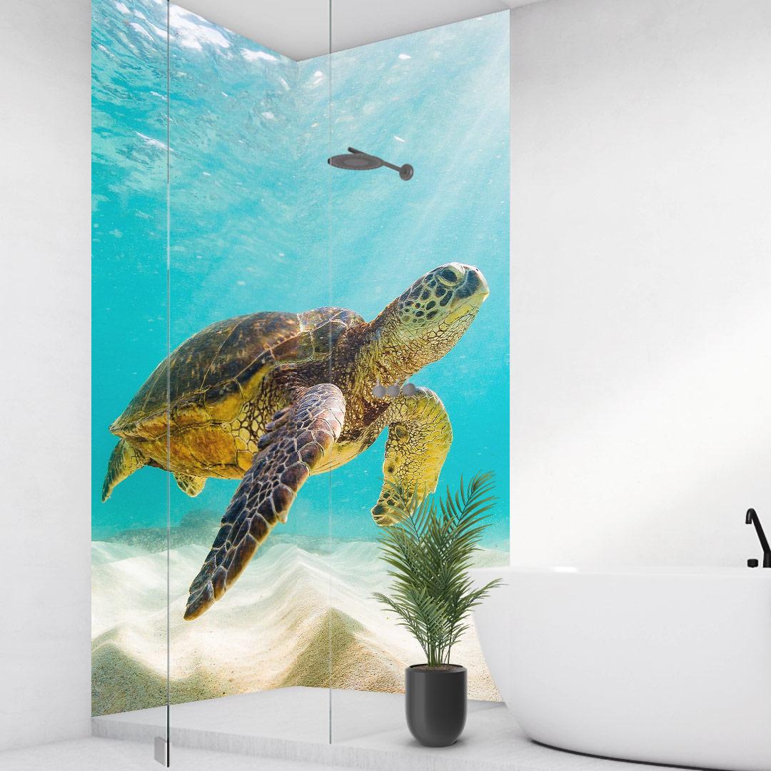 Duschrückwand Schildkröte über Eck Set