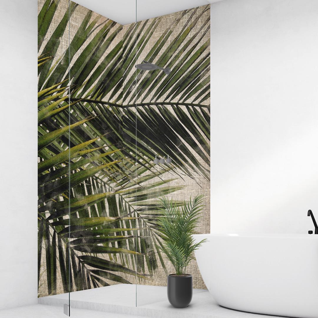 Duschrückwand Palmen Vintage über Eck Set