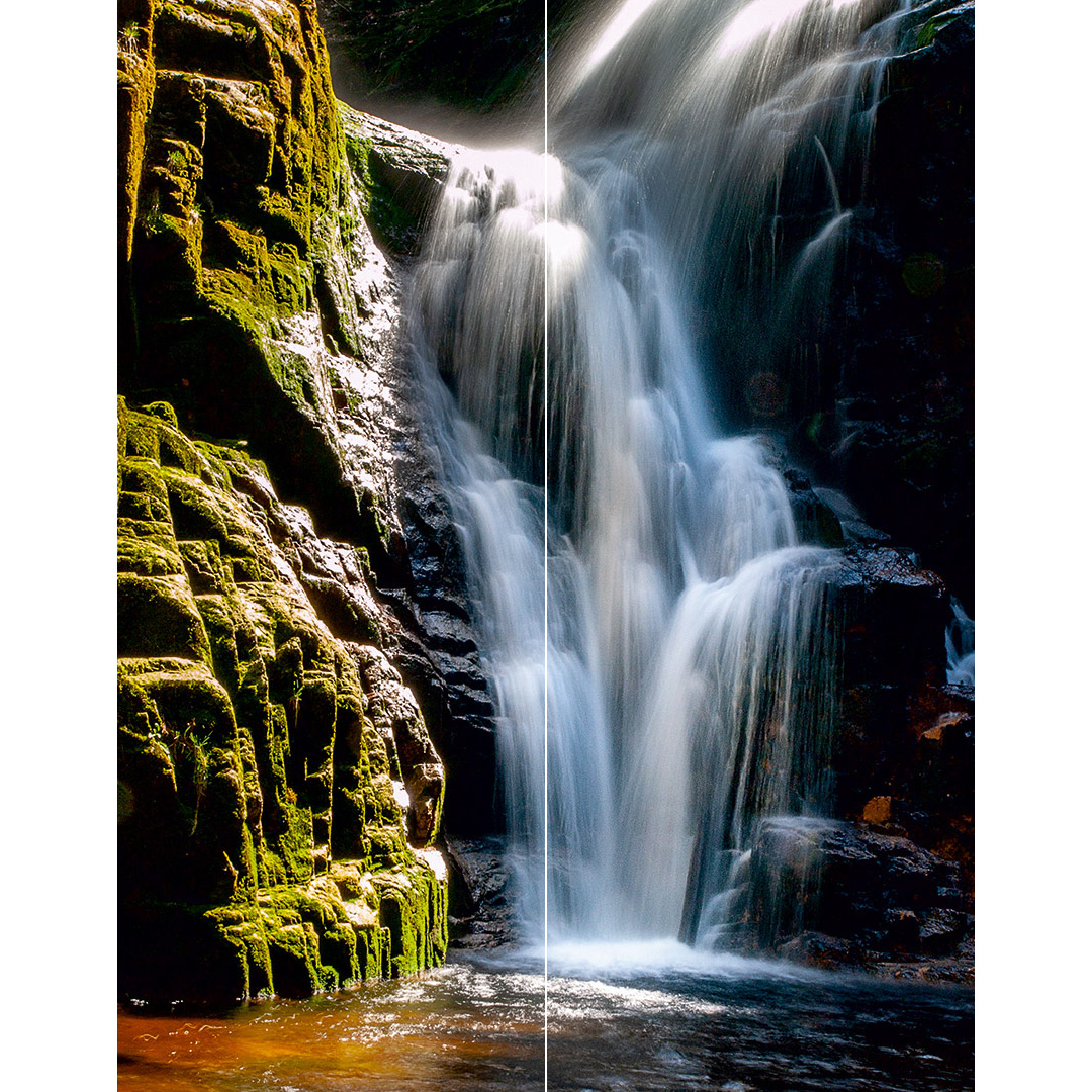 Wasserfall Berge Duschwand